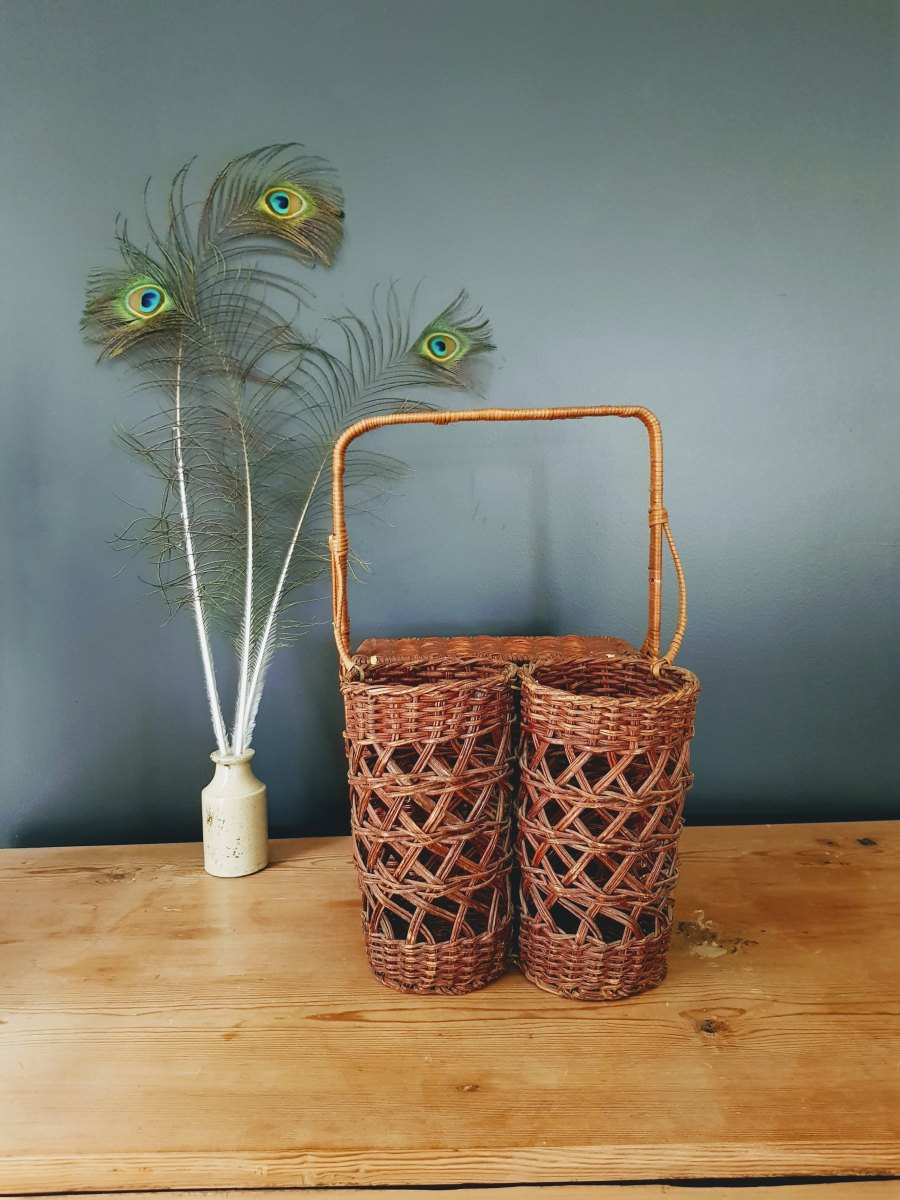Vintage Wicker Picnic Basket With Bottle Holders