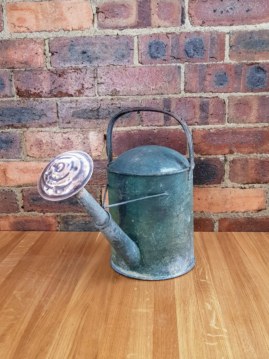 Vintage Galvanized Beldray 1 1/2 Gallon Watering Can with Original Copper Rose