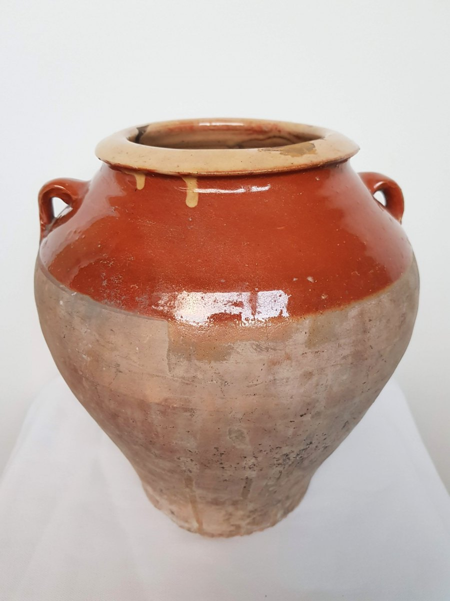Partially Glazed Terracotta Pot