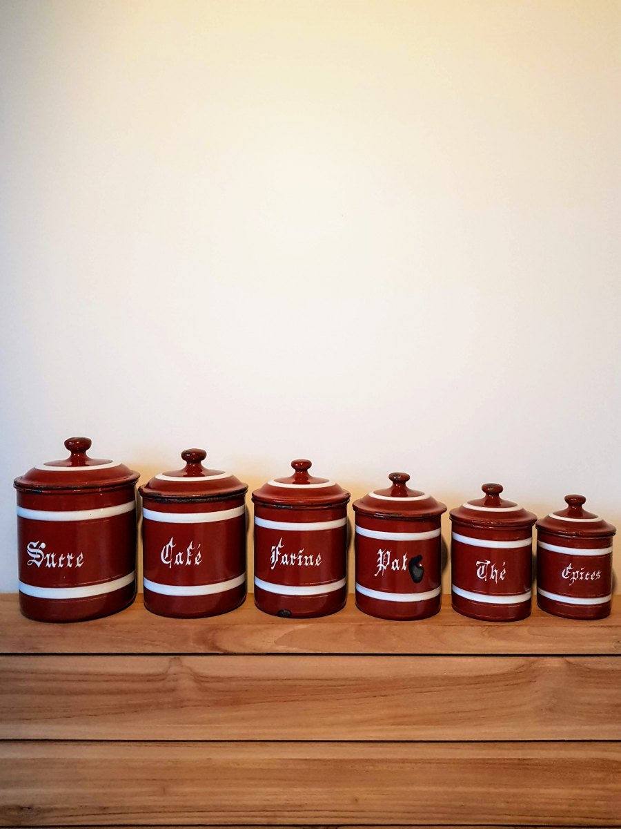 Vintage French Enamel Canisters