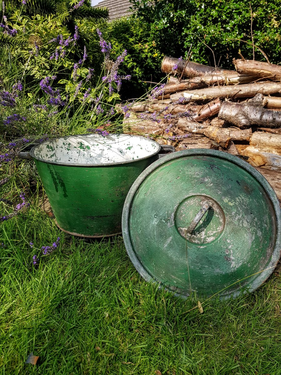galvanised tub with lid painted green